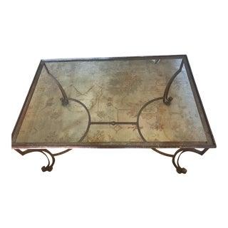 Large Rectangular Iron Glass Top Coffee Table