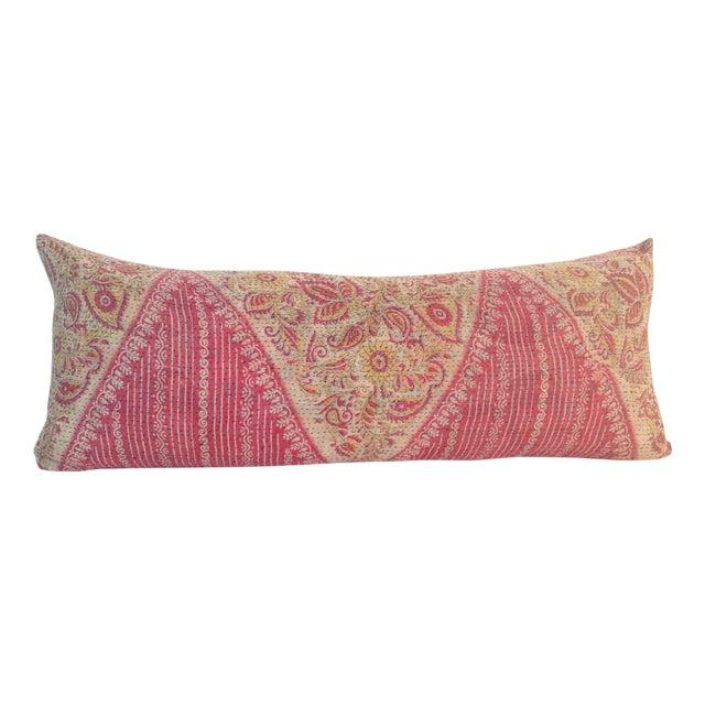Vintage Block Printed Pink Kantha Quilt Pillow - Image 1 of 3
