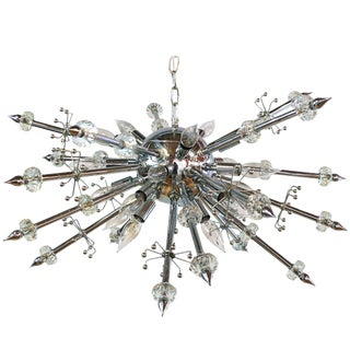 Chrome and Lucite Sputnik Chandelier