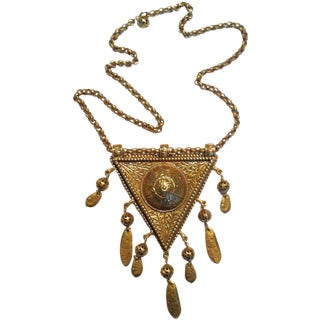 1980s Tibetan Tuareg Pendant Necklace with Fringe