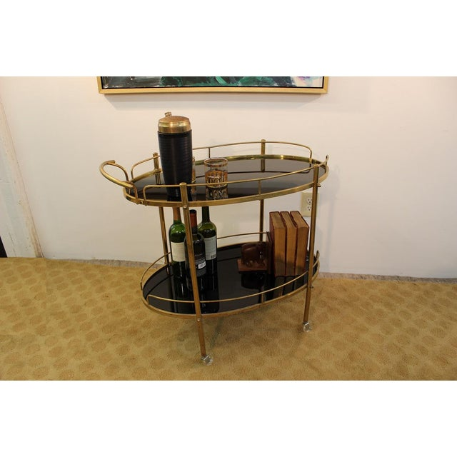mid century modern black glass brass bar cart chairish. Black Bedroom Furniture Sets. Home Design Ideas