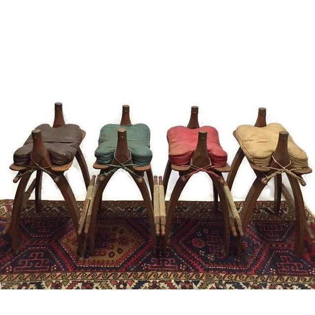 Vintage Egyptian Camel Saddle Bar Stools Set - 4 - Image 6 of 10