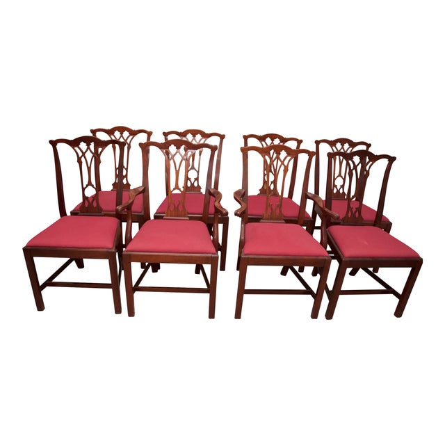 Image of Chippendale Style Mahogany Dining Chairs - S/8