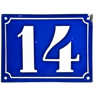 "Vintage French ""14"" Enamel House Number"