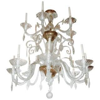 Gilded, Fourteen-Light Murano Chandelier