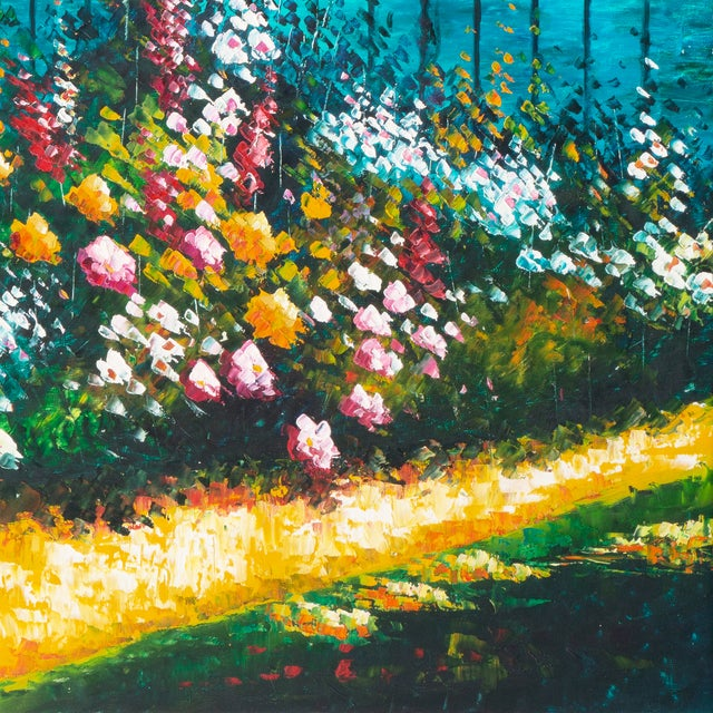 Flower Bed With Bay Overlook Oil Painting - Image 3 of 6