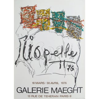 1976 Vintage Exhibition Poster by Riopelle (Red, Yellow, Green), Original French Poster