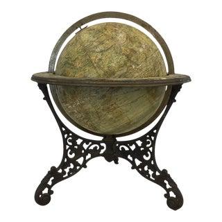 Antique American Model Globe on Iron Base