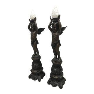 Antique Handmade Bronze Cherub Stain Glass Lamp - Pair