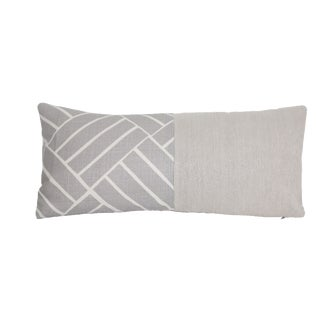 Gray Diagonal Linen Lumbar Pillow