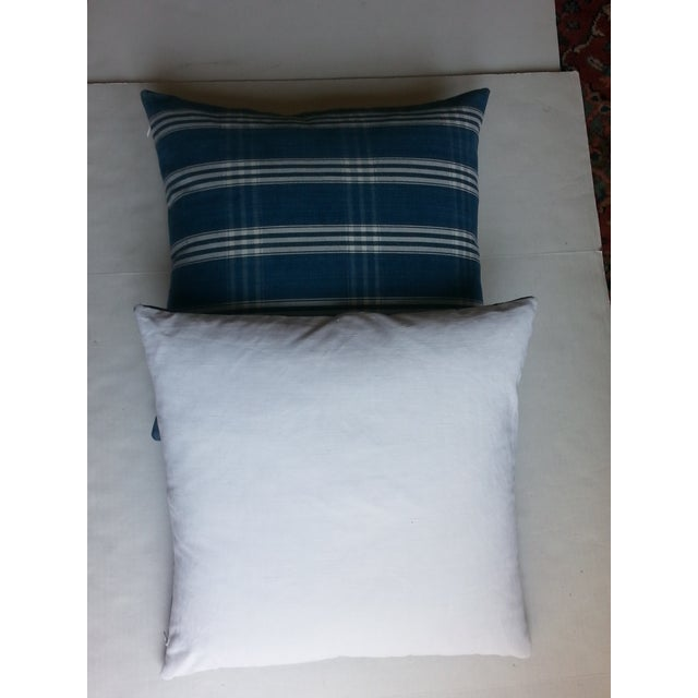 Guatemalan Blue & White Plaid Pillows - A Pair - Image 4 of 4