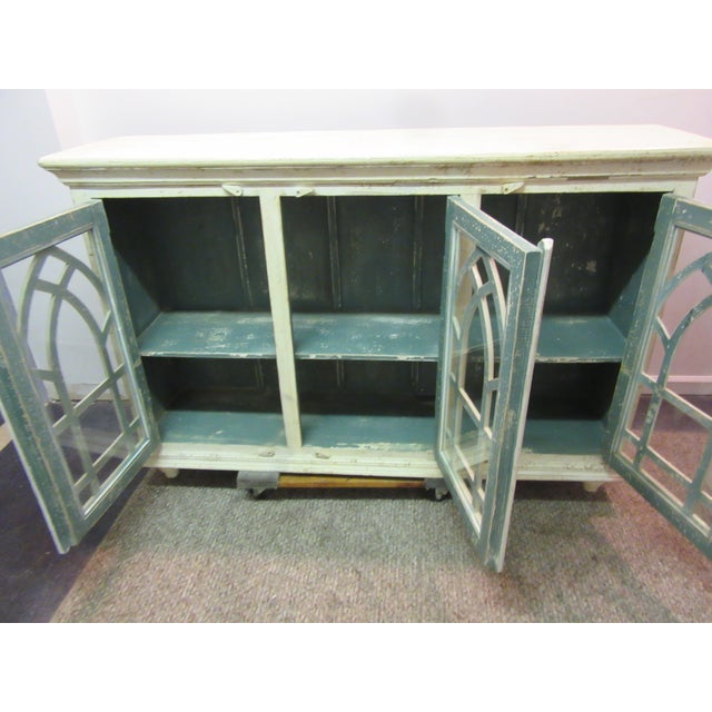 Image of Country French Cathedral White 3 Door Credenza