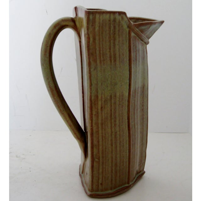 Image of Glazed Green & Brown Artisan Ceramic Pitcher