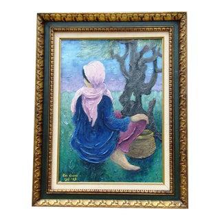 Girl With Basket Zvi Livni Oil on Canvas