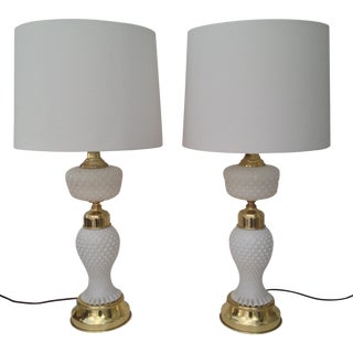 Milk Glass and Brass Lamps - A Pair