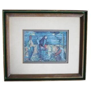 The Fishermen Mid Century Framed Art Print