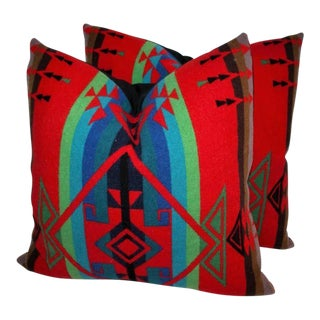 Pair of Indian Design Pendleton Camp Blanket Pillows