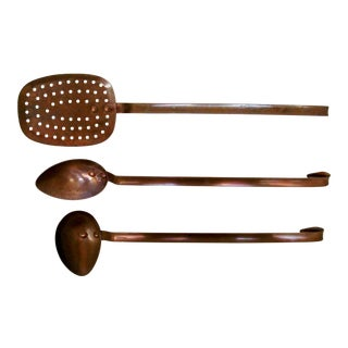 Vintage French Copper Utensils, Set of 3
