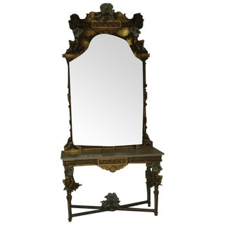 Marble and Gilt Antique Foyer Table and Mirror