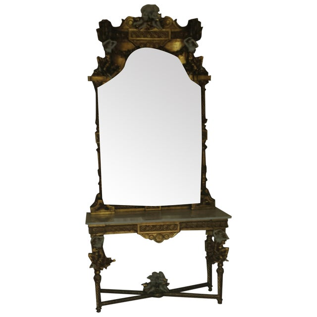 Foyer Mirror Height : Marble and gilt antique foyer table mirror chairish