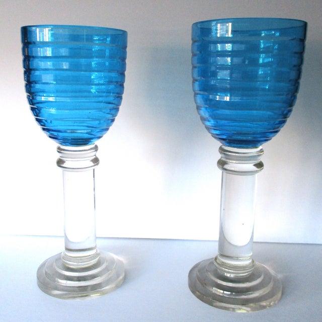 Vintage 14-Inch Crystal Hurricane Lamps - Pair - Image 2 of 6