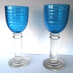 Image of Vintage 14-Inch Crystal Hurricane Lamps - Pair