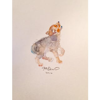 Contemporary Little Howler Watercolor Painting