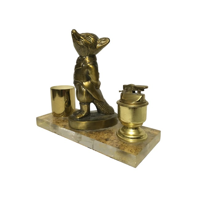 Brass Fox Cigarette and Lighter Set - Image 1 of 10