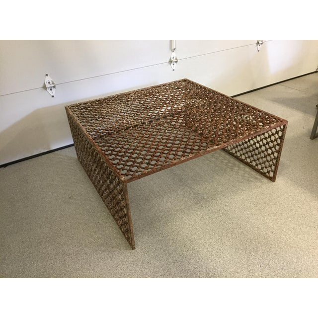Rusted Iron Chain Link Coffee Table - Image 5 of 6