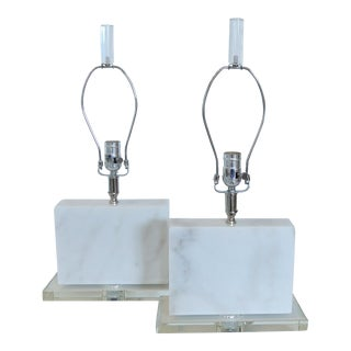 Alabaster and Glass Custom Table Lamps - A Pair
