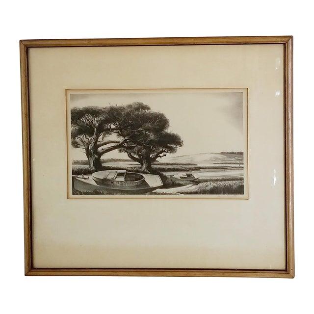"Framed & Signed Print, ""Boats at Low Tide"" - Image 1 of 5"