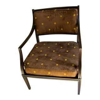 Edward Wormley for Dunbar Mahogany & Brown Suede Open Arm Lounge Chair