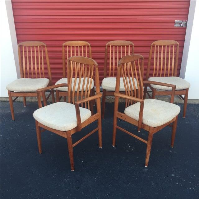 Danish Modern Style Teak Dining Chairs - Set of 6 - Image 4 of 11