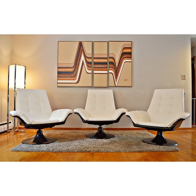 Decorian Swivel Tulip Base Chairs - Set of 3 - Image 2 of 11