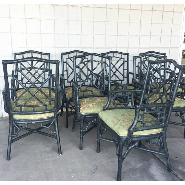 McGuire Chinese Chippendale Chairs - Set of 8 - Image 4 of 4