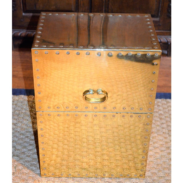 Sarreid Ltd. Studded Brass Side Table - Image 11 of 11