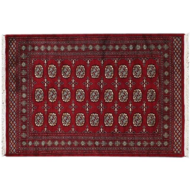 "Image of Apadana - Red Tribal Bokara Rug - 4'2"" x 6'"