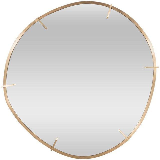 Sophisticated Custom Handmade Organic Modernist Mirror in Burnished Brass - Image 4 of 4