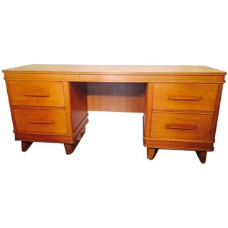 Art Deco Solid Light Oak Desk