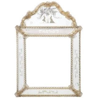 Circa 1920 Antique Barbini Venetian Glass Mirror