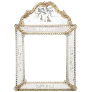 Circa 1920 Antique Barbini Venetian Glass Mirror