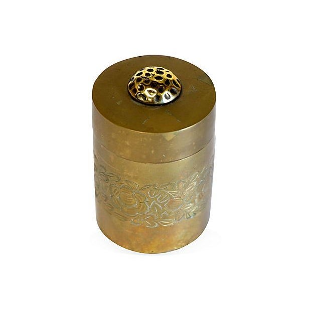 Etched Antique Brass Canister - Image 2 of 4