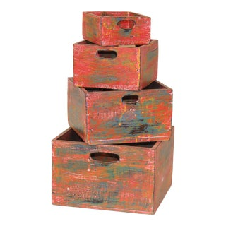 Albizia Wood Nesting Boxes - Set of 4