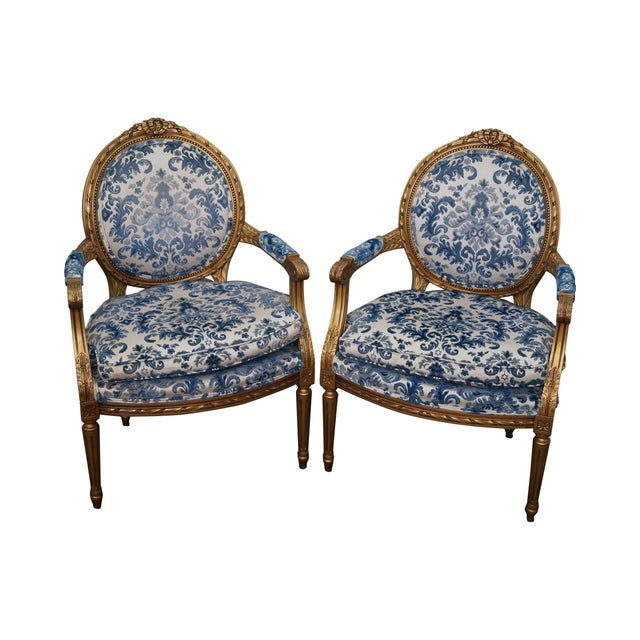 Vintage Gilt French Louis XVI Chairs - A Pair - Image 1 of 10