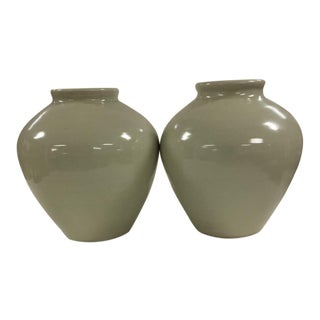 Vintage Asian Glazing White Celadon Vases - A Pair