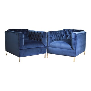 A Pair of Blue Velvet Tufted Club Chairs