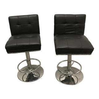 Chrome & Black Adjustable Bar Stools - A Pair