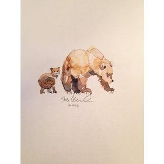 Bear Cub & Mom Watercolor