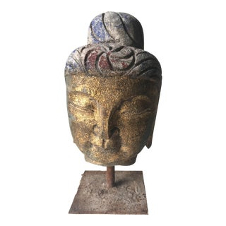 Carved Stone Buddha Head Antiquity on Stand