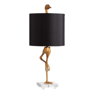 Lucite Base Gold Bird Table Lamp